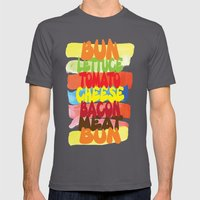 Funny Burger Typography Art  Mens Fitted Tee Asphalt SMALL