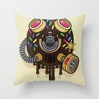 Donut Gas Mask Throw Pillow