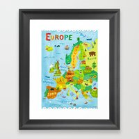 Map Of Europe Framed Art Print
