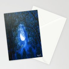 Trees in the moonlight Stationery Cards
