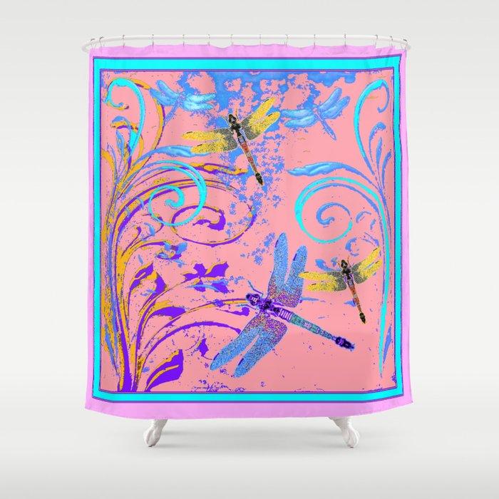 Blue Gold Dragonflies In Purple Pink Fantasy Art Shower