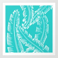 Modern Palm Leaves - Turquoise Blue and White Art Print