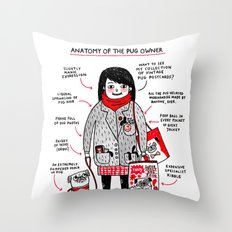 Anatomy Of The Pug Owner Throw Pillow