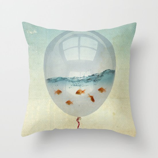 balloon fish o2, freedom in a bubble Throw Pillow
