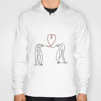 Penguins in love single line drawing Hoody