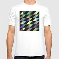 Tilted rectangles pattern Mens Fitted Tee White SMALL