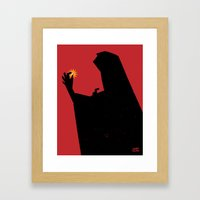 Pearl - A figure offers up a pearl Framed Art Print