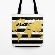 Gold Striped World Map Tote Bag