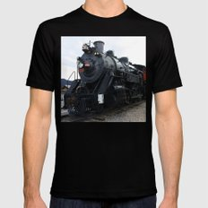 Vintage Railroad Steam Train Black Mens Fitted Tee SMALL