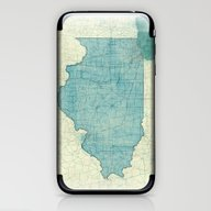 Illinois Map Blue Vintag… iPhone & iPod Skin