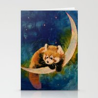 Red Panda Moon Stationery Cards