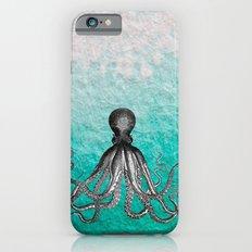 Antique Nautical Steampunk Octopus Vintage Kraken sea monster ombre turquoise blue pastel watercolor iPhone 6 Slim Case