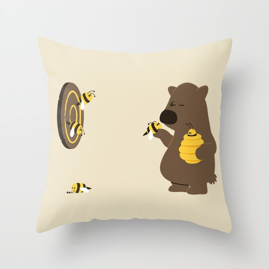 Bee game Throw Pillow
