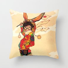 The land of the rising zine Throw Pillow