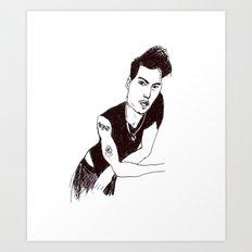 Biro portrait of the actor Johnny Depp Art Print