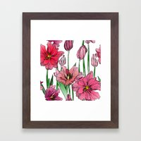 Pink Hibiscus Pattern Framed Art Print