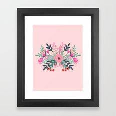 Pink bouquet Greeting card Framed Art Print