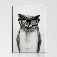 hipster Stationery Cards featuring Mr. Owl by Isaiah K. Stephens