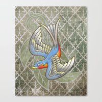 Sparrow tattoo Canvas Print