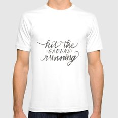 Hit the Ground Running SMALL White Mens Fitted Tee