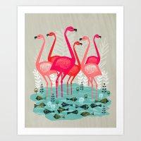 Flamingos By Andrea Laur… Art Print