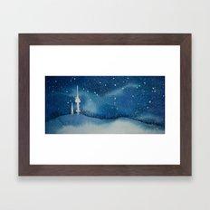Seoul Winter Night Blues Framed Art Print