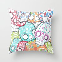 skulls sugar Throw Pillow
