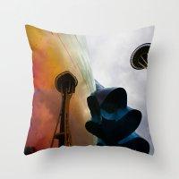 Space Needle Reflection Throw Pillow