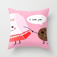 Milk and cookie love  Throw Pillow