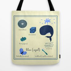 Colors: blue (Los colores: azul) Tote Bag