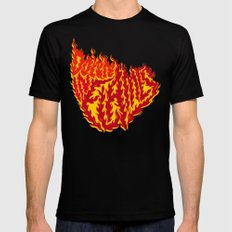 Down in Flames SMALL Black Mens Fitted Tee