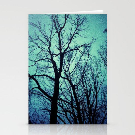 Blue Winter Trees Stationery Card