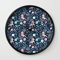 Unicorns in Hesperides Wall Clock