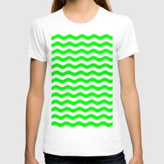 Wavy Stripes (Green/White) Womens Fitted Tee White SMALL