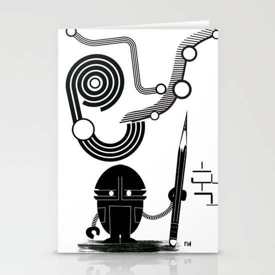 Robot Graffiti  Stationery Card