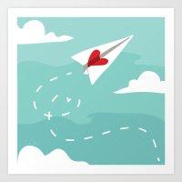 Love Letter Airplane Art Print
