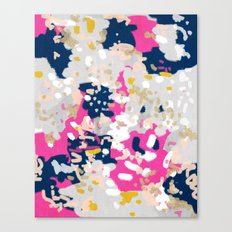 Michel - Abstract, girly, trendy art with pink, navy, blush, mustard for cell phones, dorm decor etc Canvas Print