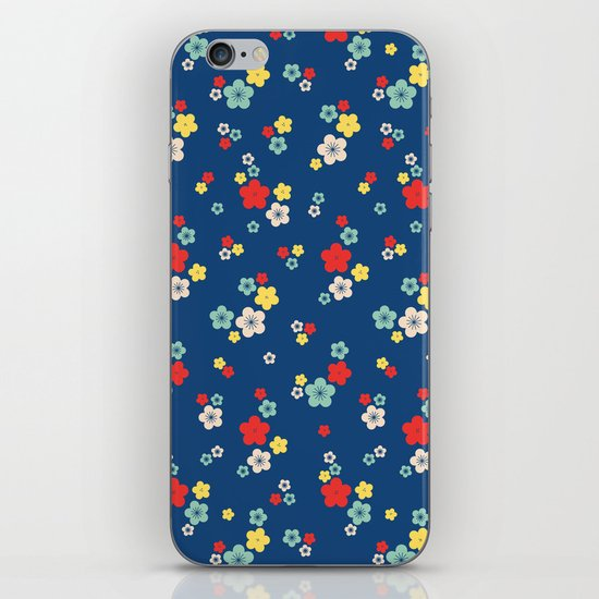 blossom ditsy in monaco blue iPhone & iPod Skin