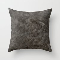 Black And White Brushstrokes Abstract Pattern Modern Throw Pillow