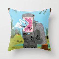 Hippopotamouth Throw Pillow