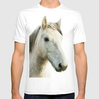 White Horse Portrait Mens Fitted Tee White SMALL