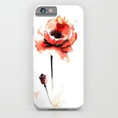 watercolor poppy iPhone 6s Slim Case