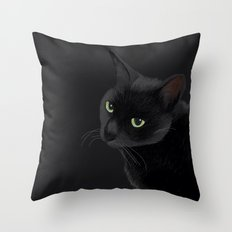 Black cat in the dark Throw Pillow