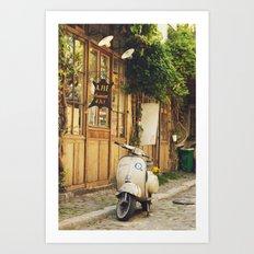 Vintage Vespa in Paris Art Print