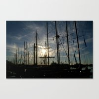 Canvas Print featuring sailboat on the sunrise by Silvia Giacoletto