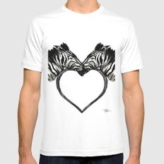 Zebra Love SMALL White Mens Fitted Tee