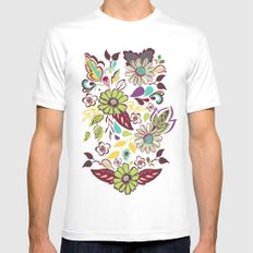 Large Bright Blooms White Mens Fitted Tee SMALL