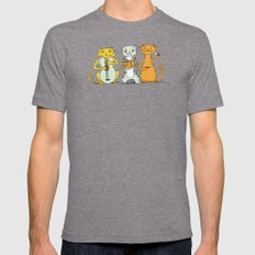 Cat Trio Mens Fitted Tee Tri-Grey SMALL