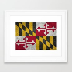 State flag of Flag of Maryland - Vintage retro style Framed Art Print