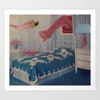 Blue Bed Art Print
